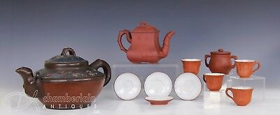 Large Lot Of Chinese Yixing Pottery Teapots Cups Saucers Etc