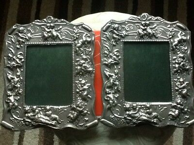 English Silver Hallmarked Pair Of Matching Photo Frames ,