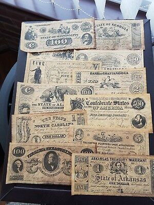 USA Confederate Currency Set - Reproduction