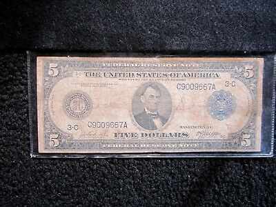 1914 $5 Five Dollar Blue Seal Large Size Federal Reserve Note