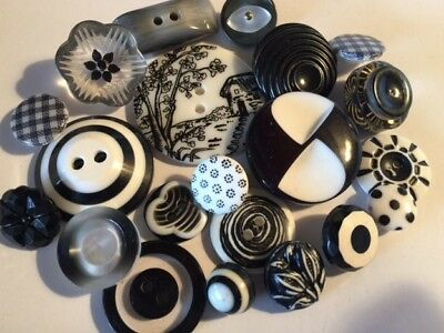 Vintage & New Black & White Theme Plastic Buttons Lot of 21