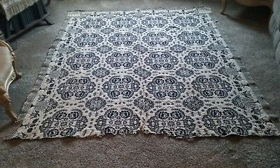 Antique Wool Jacquard Coverlet, B. Wait, Bethany, Genesee Co. NY, 1839, Lovely!
