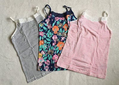 ***BNWT Next girls Floral Striped vests tops 3 pack set 5-6 years***