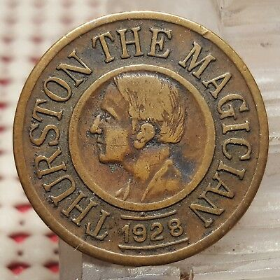1928 Howard Thurston The Magician Good Luck Charm Coin Token - Magic Never Fails