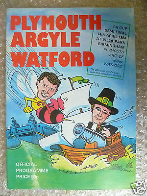 1984 FA Cup Semi Final PLYMOUTH ARGYLE v WATFORD, 14th April