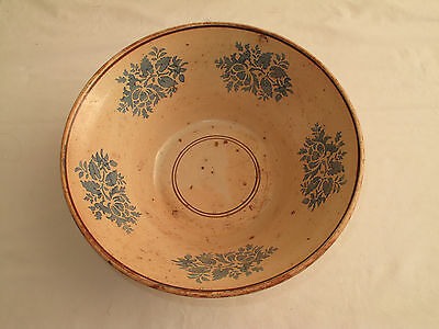 Antique Pale Pink Early Ceramic Mixing Bowl Blue Floral 1800's