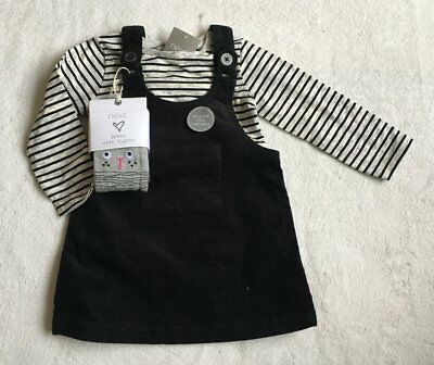 ***BNWT Next baby girl Black cord dress, top and Cat tights set 12-18 months***