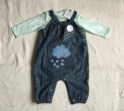 ***BNWT Next baby girl Cloud denim dungarees and bodysuit set 12-18 months***