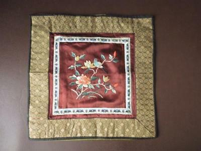 Vintage Chinese Silk Square Embroidered Silk Bird & Flowers