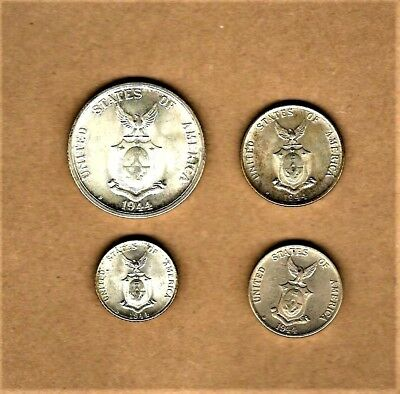 Filipinas (U.S. issue coins) 4 coin WWII issue lot with 3 Silver coins