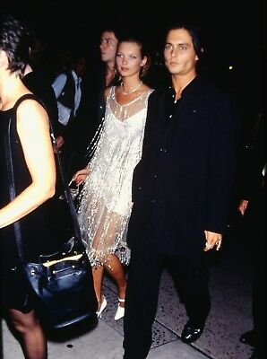 KATE MOSS & JOHNNY DEPP at a Movie Screening - Original 35mm Slide - 1994