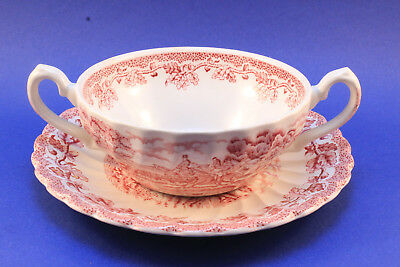 Myotts Country Life England Suppentasse 2tlg rosa rot