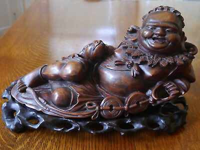 Beautiful Large Antique Japanese ? Carved Wooden Buddha On Stand Figurine Statue