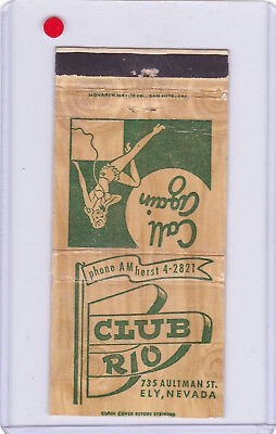 Club Rio Casino 1950's Matchcover Ely Nevada Listed In 1954 Phone Book