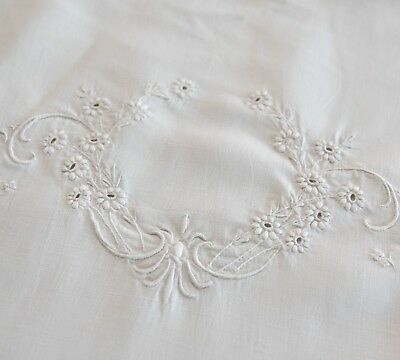 "Antique Euro Size Linen Embroidered Pillow Sham 30"" x 30.75"""