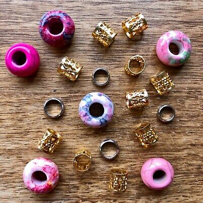 Set of 5 Pink Gemstone Dreadlock Beads 5mm / 6mm Hole (3/16 - 1/4 Inch)