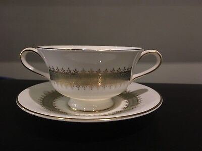ARGYLL by WEDGWOOD Footed Double Handled Cream Soup Bowl & Saucer Set Excellent