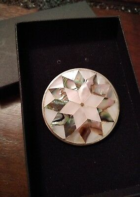 Large silver taxco brooch / mother of pearl & abalone antique vintage jewellery