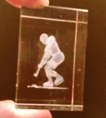 A Charming Original Clear Perspex Paperweight Of A Ice Hockey Player.