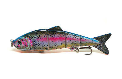 "4.8"" Multi-jointed Bass Pike Fishing Bait Swimbait Lure Life-like Rainbow NEW"