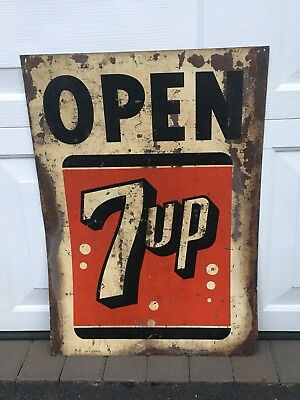 Vintage 1957 7UP Open Store Metal Sign