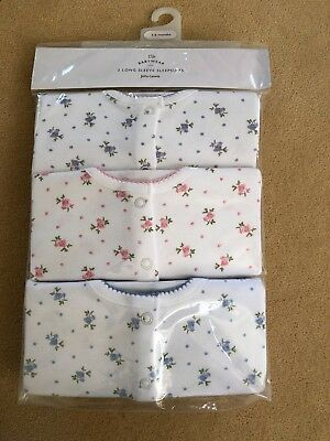 John Lewis long sleeve sleep suits x3 pack. Ditsy Floral design 3-6 months BNWT