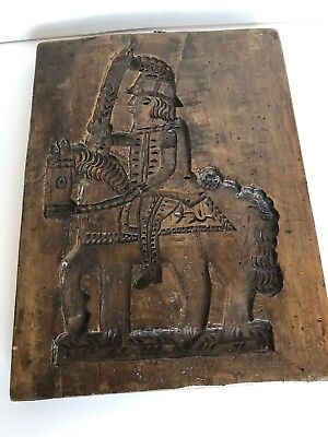 Old Wood Springerle Double sided Stamp Press Cookie Mold Ship and Horse w Rider
