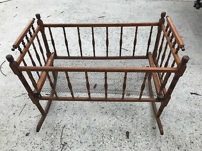 Vintage Antique Solid Wood Spindle Baby Crib Doll Display