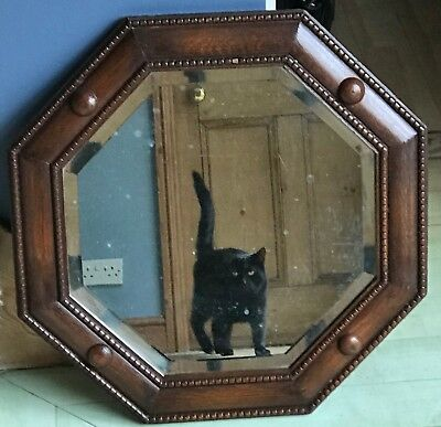 Antique Victorian Wood Wall Mirror Mahogany Oak Hexagonal With Hanging Chain
