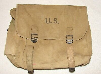 Original 1942 Dated WWII US ARMY Khaki M1936 Musette Bag Pack - Airborne