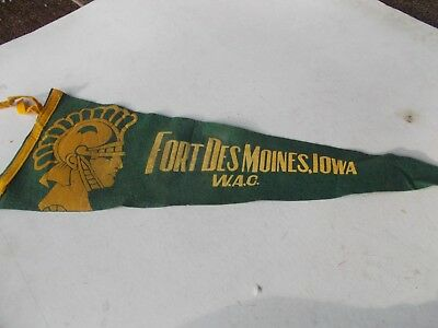 "W.A.C. Fort Des Moines, Iowa Pennant 25"" long WW2"