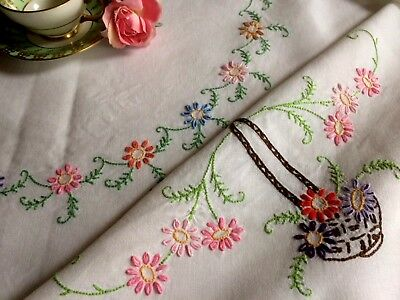 """Vintage Hand Embroidered Large Linen Tablecloth 49"""" x 49"""" Pretty Floral Baskets"""