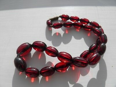 Vintage Cherry Amber Bakelite Necklace - Tested