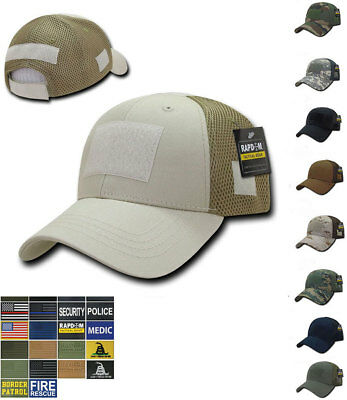 73b527a5e42 RAPDOM Low Crown Mesh Constructed Military Tactical Hats Caps With Front  Patch