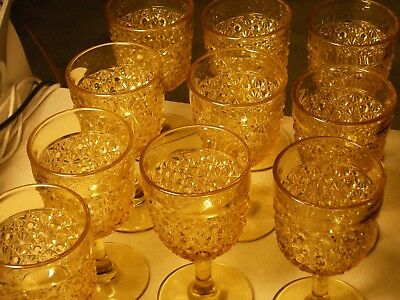 Vintage Amber Daisy & Button Goblets Set of 10 - Excellent