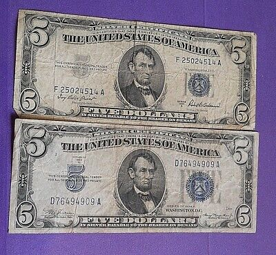 1934A/1953A $5 Dollar Bill Silver Certificate Blue Seal Banknotes Set Of Two