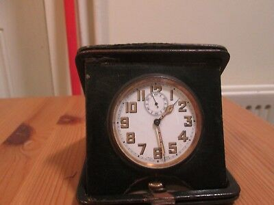 Vintage Antique Swiss Pocket Watch Style Travel Clock in Leather Case Working