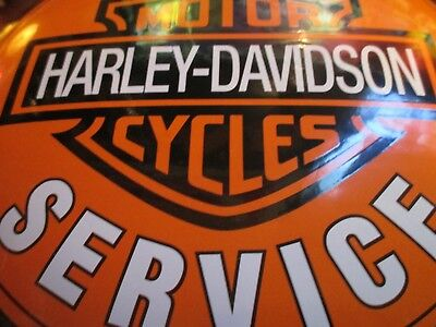 Old Original Harley Davidson Cycle Sales Service Convex Porcelain Enamel Sign
