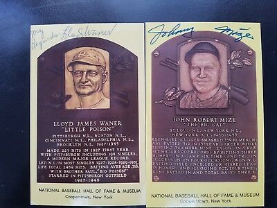 Lloyd Waner & Johnny Mize Autographed Color Hall Of Fame Cards Mint !!