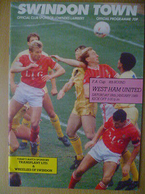 1988/89 FA CUP 4th Round SWINDON TOWN v. WEST HAM UNITED 28 January, 1989