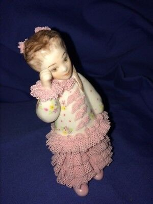 Irish MZ Dresden Porcelain Lace Wendy Signed Doll Ireland China Pink MINT COND.