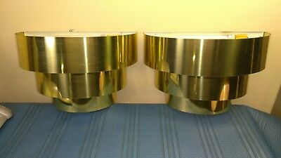 Pair of MCM 3 Tiered Gold Tone Wall Sconces Brass Fluorescent Set Vintage