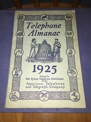 1925 Telephone Almanac Bell System Telephone American Telephone & Telegraph Co.