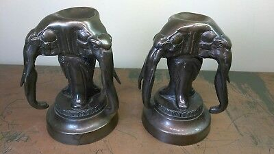 2 Antique 3 Headed Kingdom of Laos Incense Elephant Sculpture Bronze Statue Set