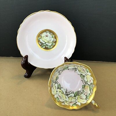 Paragon Cup & Saucer Pale Pink W/ Heavy Gold & Band Of Yellow & White Roses