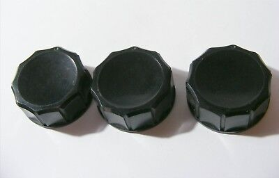 3 NOS VINTAGE KNOBS by ADVANCE COMPANY Ltd UK VALVE AMP RADIO HAM MILITARY WW2