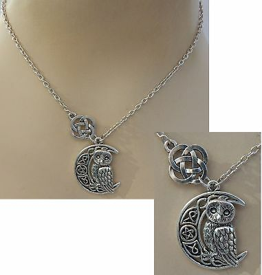 Necklace Silver Celtic Owl Moon Pendant Jewelry Handmade NEW Accessories Fashion