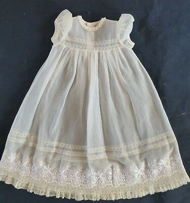 Vintage Cream SS Sheer Organdy Christening Gown Girl Lace Embroidery OOAK Reborn