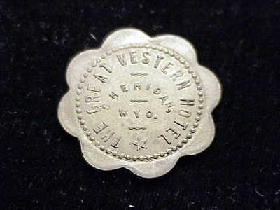 Sheridan WY The Great Western Hotel,  early Wyoming scalloped brass saloon token