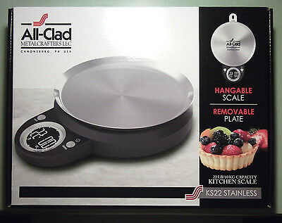 All-Clad Kitchen Scale Stainless Steel KS22. Hangable w/ Removable Plate. New!